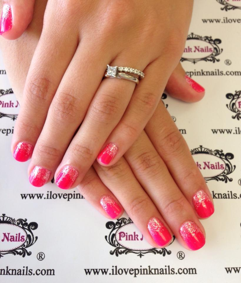 hot pink nails with diamonds-#28