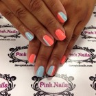 Baby Blue and Coral Soft Gel Nails