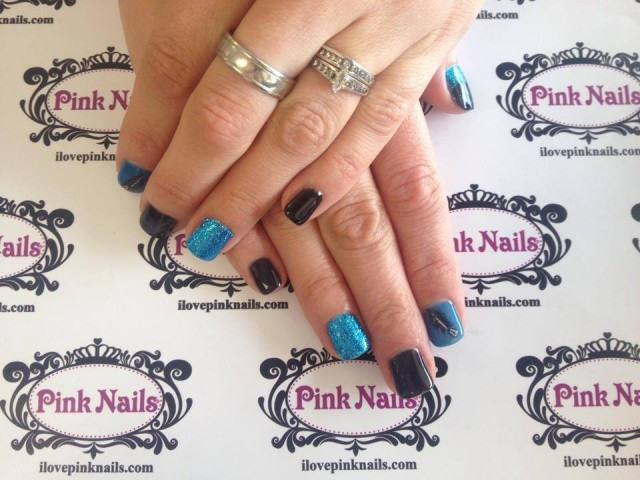 Blue and Black Soft Nails