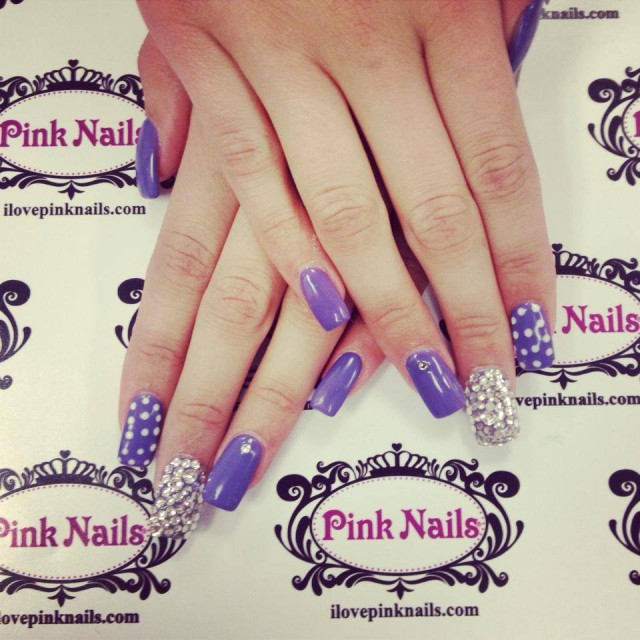 Purple Bling Nails