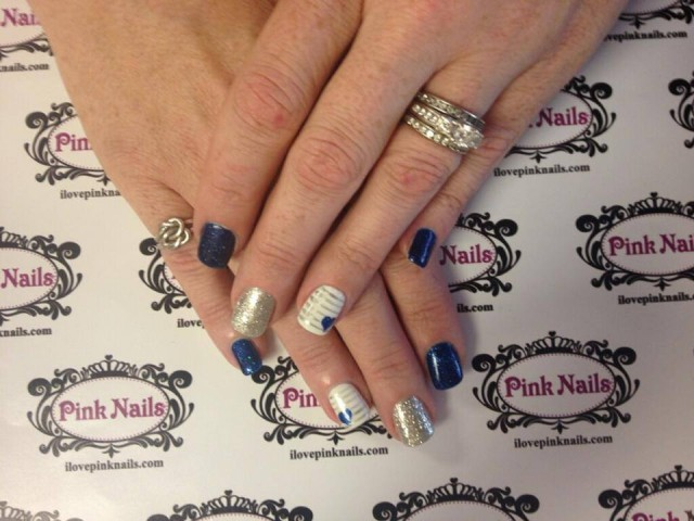 Silver and Blue Heart Nails