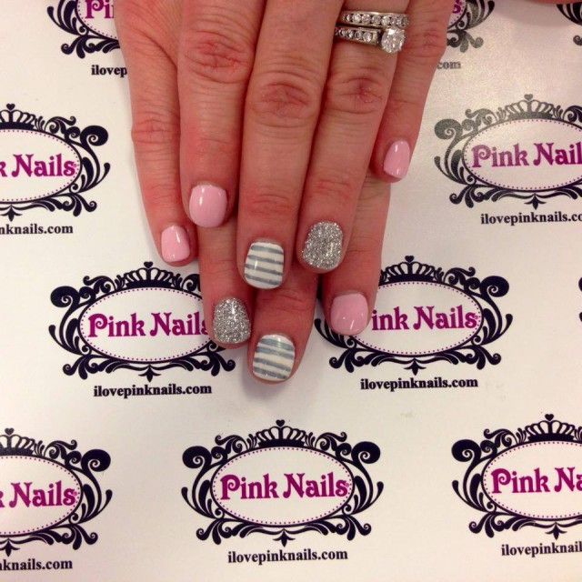 Baby Pink and Solver Stripe Nails