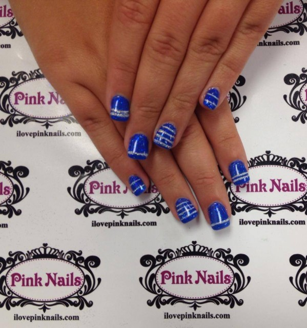 Blue and Silver Stripe Rock Star Nails