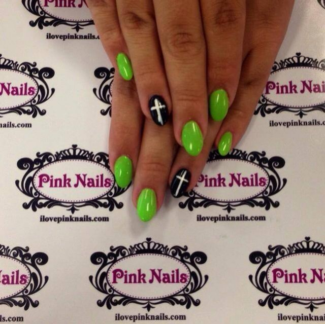 Green and Black Cross Nails