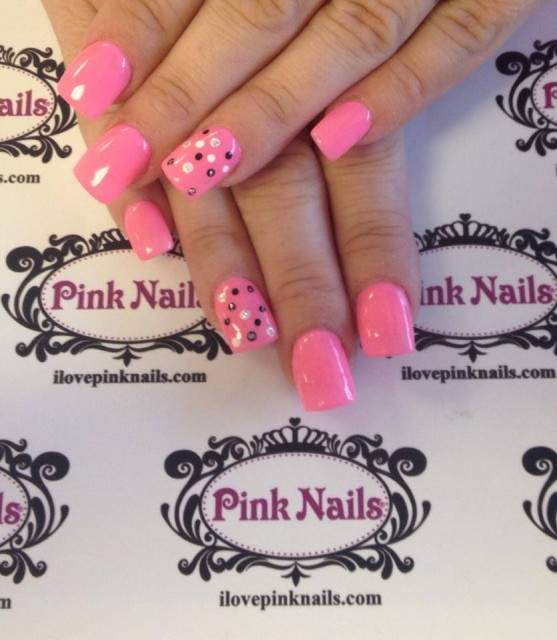 Pink Polka Dot Nails