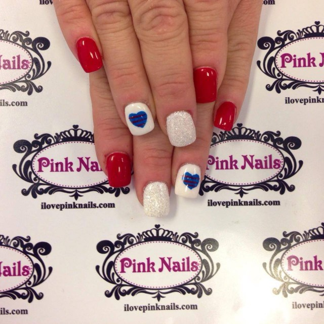 Red, White and Blue Heart Nails