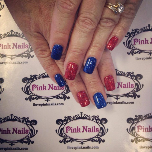 Red and Blue Rock Star Nails